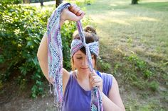 how to make square and rectangle scarves into turban style headbands no sew