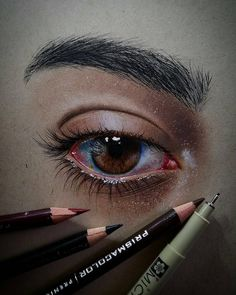 Eye-studies (Faber-Castell Polychromos on brown paper) : drawing Colored Pencil Artwork, Pencil Art Drawings, Art Drawings Sketches, Horse Drawings, Colored Pencils, Eye Sketch, Sketch Drawing, Drawing Art, Sketch Ink