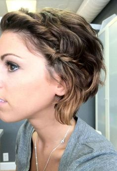"cute updo ideas for short hair- if Ben ever lets me cut my hair short... :) < if your life partner won't let you ""cut your hair short"" (in my opinion this is not short) then you are with the wrong person. Your hair your body your life. Leave him."