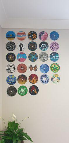 Indie Bedroom, Indie Room Decor, Cute Bedroom Decor, Aesthetic Room Decor, Cd Wall Art, Record Wall Art, Cd Art, Mini Canvas Art, Diy Canvas