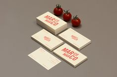 Sans-serif logotype and business card design by Acre for Singapore based Italian restaurant brand Marco Marco