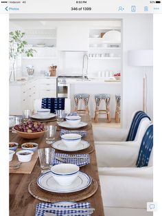 PriivateHouseco Beach House Decor, Beach Houses, Home Decor, White Dishes, Grey Cabinets, Dinner Is Served, Coastal Homes, Kitchen Styling, Living Area