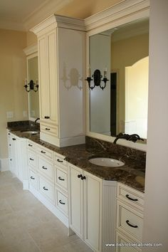 His and her sinks with linen tower double master for Bathroom cabinets update ideas