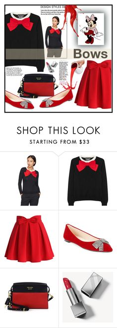 """""""cutie"""" by kleinwillwin ❤ liked on Polyvore featuring Boutique Moschino, Chicwish, Karl Lagerfeld, Prada, Disney and Burberry"""