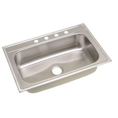 "New Elkay Signature Top Mount Stainless 33"" Single Bowl Kitchen Sink SLPFS33224 
