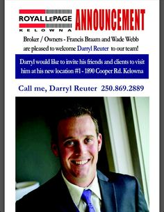 Royal LePage Kelowna: Welcome to the team Darryl Reuter