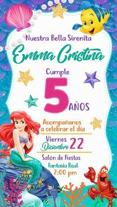Mermaid Birthday Cakes, Little Mermaid Birthday, Little Mermaid Parties, 1st Birthday Girls, Birthday Party Themes, Little Mermaid Invitations, Cinderella Invitations, Simple Birthday Decorations, Photo Birthday Invitations