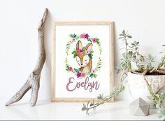 Baby Name Deer Nursery Wall Art | Personalized Boho Woodland Girls Room Decor | Printable Monogram | Baby Shower Gift | Letters Name Prints