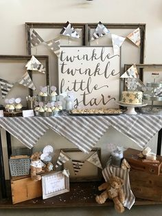 Twinkling with details oh-so-sweet, this Rustic Twinkle Star Gender Reveal Baby Shower featured at Kara's Party Ideas is adorable. Baby Shower Centerpieces, Baby Shower Favors, Shower Party, Baby Shower Parties, Baby Shower Decorations, Baby Shower Gifts, Baby Party, Shower Time, Office Baby Showers