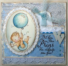 Annes lille hobbykrok: Stampavie, Tina Wenke, Baby card, Distress Ink