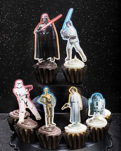 Add just the right amount of good and evil to your celebration with these DIY Star Wars cupcake toppers featuring Darth Vader, Luke Skywalker, Princess Leia, C-3PO, R2-D2 and a Stormtrooper. Download the free printable template on Disney Family and just add card stock, toothpicks and tape!