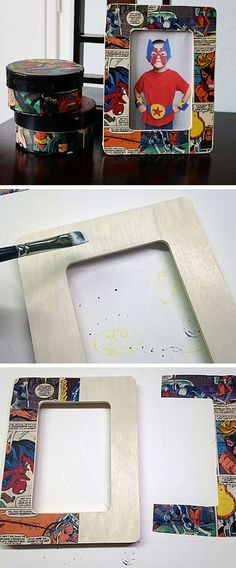 Comic Craft Decoupage Frame | Click Pic for 18 DIY Fathers Day Crafts for Kids to Make | Homemade Fathers Day Crafts for Toddlers to Make