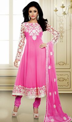Melodic Pink Embroidered Anarkali Suit Define gorgeousness with this melodic pink embroidered georgette Anarkali suit. The jaal, resham and stones work on attire personifies the overall look.  #EmbroideredAnarkaliSuit #LatestDesignerSalwarSuits