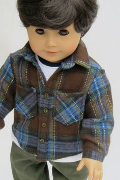 American Girl Boy Doll Clothes - Carpenter Pants, Flannel Shirt and Tee 3 piece set on Etsy, $38.00