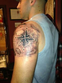 Aeronautical compass tattoo
