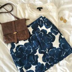 J. Crew Skirt Blue flower-print skirt from J. Crew with exposed gold zipper in the back. Never worn. J. Crew Skirts