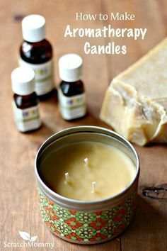Scratch Mommy shares a recipe for DIY Aromatherapy Candles and also shares the health benefits of a variety of essential oils. These make a great gift! Scratch Mommy shares a recipe Diy Aromatherapy Candles, Scented Candles, Diy Candles Essential Oils, Beeswax Candles, Aromatherapy Products, Jar Candles, Diy Candels, Patchouli Candles, Aroma Candles