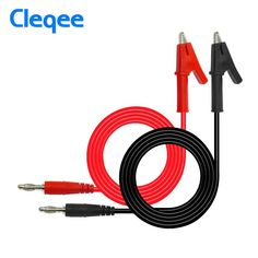 Crocodile Alligator Clip With 4mm Banana Plug Cable Wire Test Clamp Kit 2Pcs D5