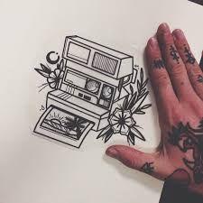 Polaroid Camera Hawaiian Floral Tattoo Camera Tattoo Tattoo Drawings Art Tattoo