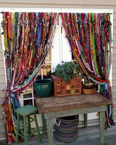 Window Decorations : Description Boho handmade home decor by Melisalanious on Etsy Boho Curtains, Beaded Curtains, Ikea Curtains, Outdoor Curtains, Scarf Curtains, Purple Curtains, French Curtains, Nursery Curtains, Floral Curtains