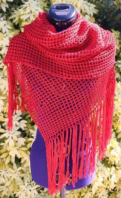 Étole au crochet tunisien en coton et viscose couleur rouge https://www.alittlemarket.com/boutique/chaliere-2339933.html