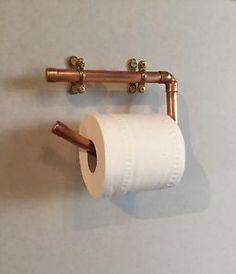 Copper Pipe Toilet Roll Holder Kit - Industrial / Modern / Rustic / Vintage in Home, Furniture & DIY, Bath, Toilet Roll Holders Modern Industrial, Modern Rustic, Outside Toilet, Copper Bath, Pipe Rack, Downstairs Toilet, Toilet Roll Holder, Towel Rail, Decoration