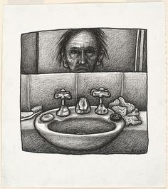An image of Self portrait with sink by Chris O'Doherty 1999 drawing