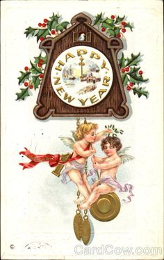 postcard.quenalbertini: Vintage New Year Card