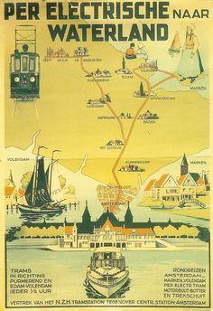 Travel Ads, Bus Travel, Vw Bus, Amsterdam, Vintage Boats, Train Service, Vintage Travel Posters, Public Transport, Sailing Ships