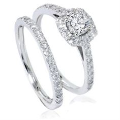 1 ct Diamond Cushion Halo Engagement Wedding Ring Set White Gold (H/I, Round Diamond Engagement Rings, Engagement Wedding Ring Sets, Engagement Ring Settings, Wedding Ring Bands, Wedding Set, Diamond Rings, Wedding Dreams, Wedding Stuff, Dream Wedding