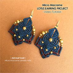 Micro Macrame Video Tutorial - Lotus Flower Earrings Class - Intermediate-Advanced Level
