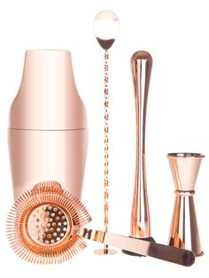 If you want to up your home bartending game, this is the bundle for you – a range of cocktail kit, all plated with copper: two-piece shaker, strainer, barspoon, muddler and measure.