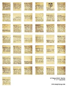 Beautiful Words inchies digital collage sheet 1x1 inch by magicpug
