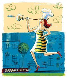 Te koop: 'n ponsbak | SARIE I write about food trend follies in Sarie Kos. Illustration Frans Groenewald