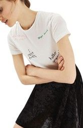 Topshop Scribble Embroidered Tee