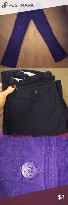 """Scrub pant. """"Life is peachy"""" medium dark purple scrub pant. Wore a handful of times. Inseam approx 31.5-32"""" Non smoking home. Life is Peachy Other"""
