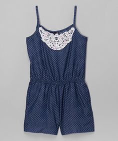 This Dreamstar Blue Chambray Lace Pin Dot Romper - Girls by Dreamstar is perfect! #zulilyfinds