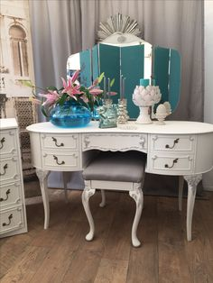 Unique Furniture, Shabby Chic Furniture, Vanity, Mirror, House, Food, Home Decor, Dressing Tables, Powder Room