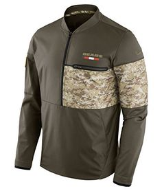 Honor America s armed forces in this Chicago Bears hybrid jacket. The olive  and camouflage long sleeved jacket has side pockets to store your valuables  and ... f287d6eab