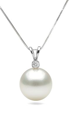 White South Sea Pearl Pendant with Diamond $554 #South Sea Pearls #pearls