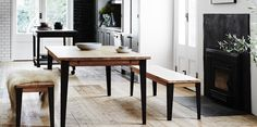 A merging of Scandinavian and Industrial furniture styles creating contemporary urban living spaces. Furniture Styles, Furniture Design, Dining Bench, Dining Room, Meeting Table, Commercial Interiors, Industrial Furniture, Scandinavian Style, Table And Chairs
