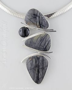 "Picasso Stone and Onyx ""Free-Fall"" Pendant"