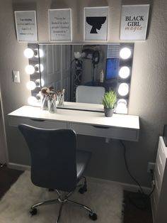 Loved the finish product! Love experimenting with materials. PVC edging instead of wall anchors to secure mirror. No extension cords. Wired everything into wire power cord for longevity and safety purposes My New Room, My Room, Pinterest Room Decor, Vanity Room, Glam Room, Stylish Bedroom, Dream Rooms, Room Decor Bedroom, Room Inspiration