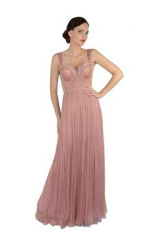 Rochie Lany`s lunga, din matase naturala roz pal. Fii delicata si feminina purtand aceasta rochie superba model unicat.