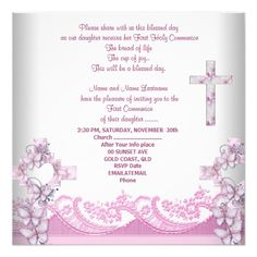 Girl First Holy Communion Lace Pink Card