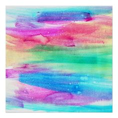 Neon Rainbow Abstract Watercolor Stripes Poster