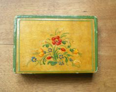 sweet vintage handpainted box - made in hungary - signed and numbered
