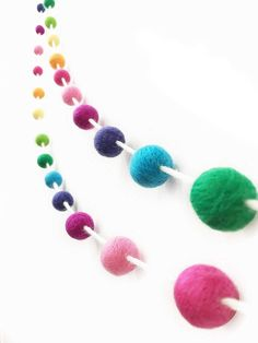 Misscrafts Felt Ball Garland Feet Wool Roving Pom Pom Garland 35 Balls Colorful for Baby Shower Grand Opening Party Festivals Room Decorations Fiesta Party Decorations, Festival Decorations, Baby Shower Decorations, Room Decorations, Felt Ball Garland, Pom Pom Garland, Balloon Garland, Wall Christmas Tree, Christmas World
