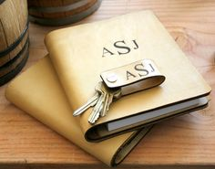 Personalized Leather Journal + Keychain Groomsman Gift Set