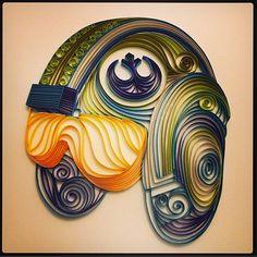 Quilled Star Wars artRebel Pilot Helmet by AliaDesign on Etsy